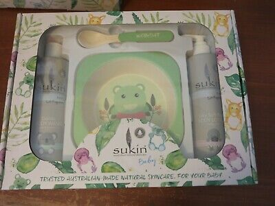 Sukin Baby Gift Set - body wash, baby lotion and bowl and spoon - WOMBAT - NEW