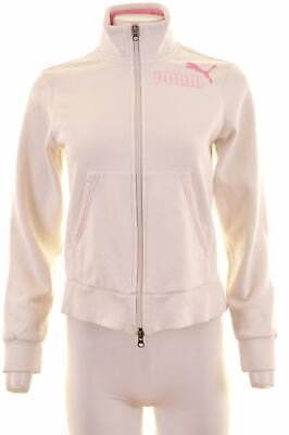 PUMA Girls Tracksuit Top Jacket 13-14 Years White Cotton  ES15