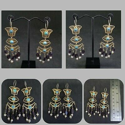 Solid Silver Gold Plated Earring with Persian Turquoise, Amethyst & Fresh Water