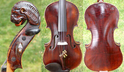 FINE 4/4 ANTIQUE BAROQUE VIOLIN LION HEAD lab: Stradivarius 19th FIDDLE 小提琴