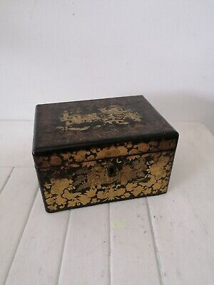 superb 19c chinese hand painted lacquerd box