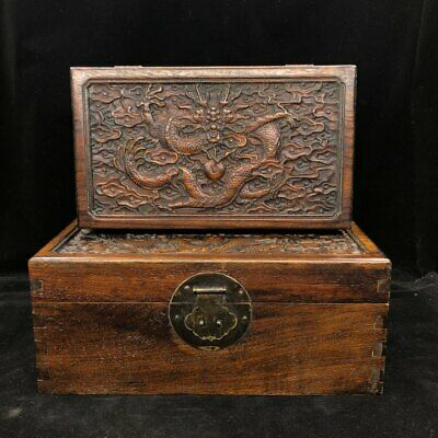 Chinese old antique huanghuali wooden hand carved dragon play ball box A SET