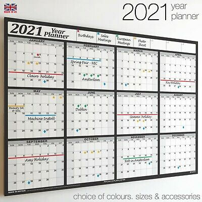 Wall Chart Calendar ✔2020✔2021 Year Planner 12 month Holidays Staff✔Office BLACK
