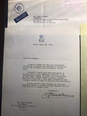Princess Grace Of Monaco Sign Letter, Own Part Of History, Great Collectible Itm