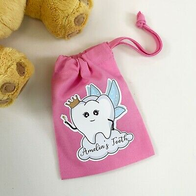 Personalised Children's Pink Tooth Fairy Drawstring Bag Any Name Custom Gift