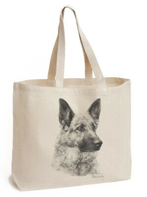 Mike Sibley German Shepherd (im1) | Dog  | Gusseted Canvas Shopping Tote Bag