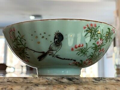 Fine Antique Chinese Celadon Bowl with Enamel Bird & Flowers Signed