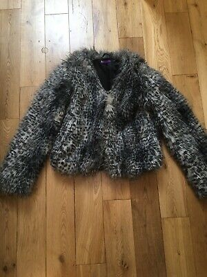 Marks & Spencer Girls Grey Fluffy Furry Short Faux Fur Jacket Age 13-14 Years