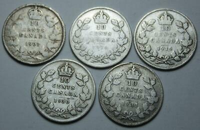 Canada 1907, 1914, 1915, 1930 & 1931 Silver 10 Cents Lot Of 5