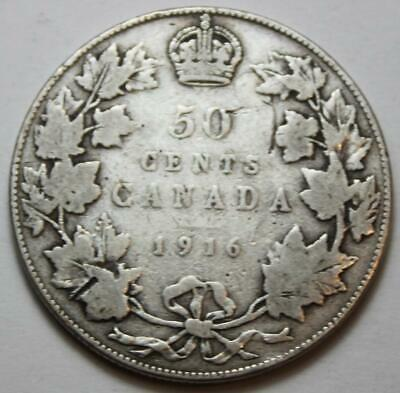 Canada 1916 Silver 50 Cents, Old Date KGV