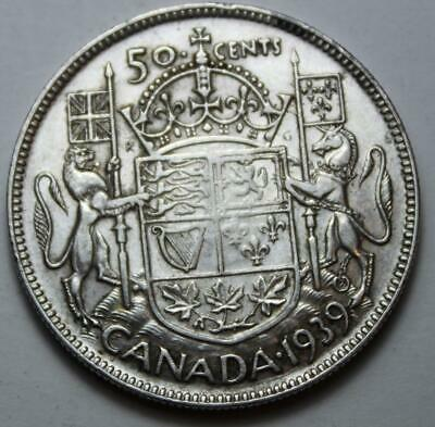 Canada 1939 Silver 50 Cents, Nice Grade, Better Old Date KGVI