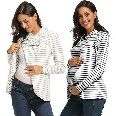 Maternity Long Sleeve Striped Hoodie Nursing Sweatshirts Breastfeeding Top