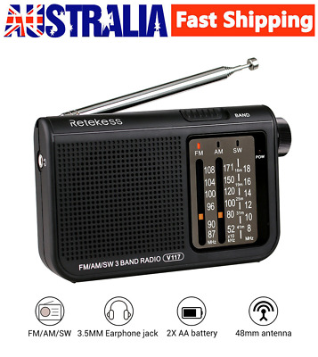 FM+AM+SW 3 Band Receiver Radio Analog Transistor Portable Radio Battery Powered