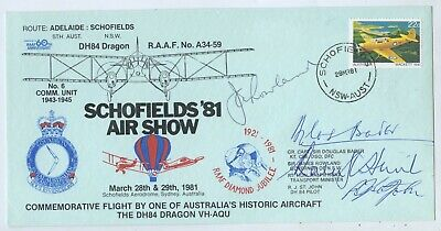 SCHOFIELDS 81 AIR SHOW STAMPED ENVELOPE SIGNED SIR DOUGLAS BADER AIR ACE WW2 i65
