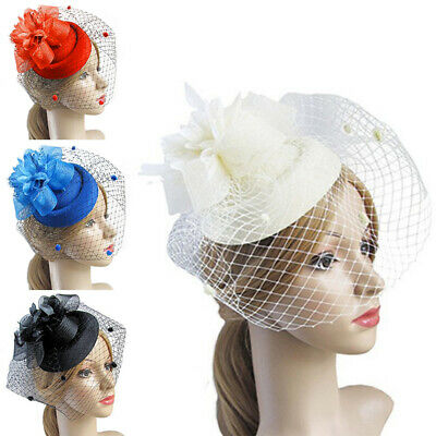 Bridal CostumeWedding Party Fascinator Veil Net Hat with Feathers Headpiece NEW