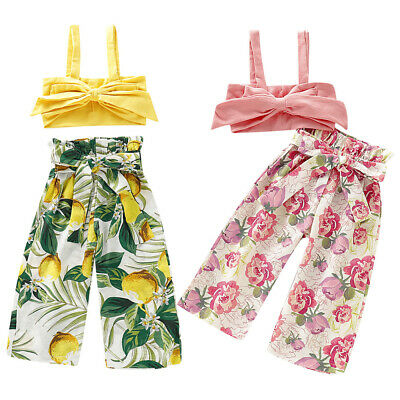 Bunny Toddler Baby Girl Vest Crop Tops Floral Trouser Pants Outfits Clothes Set