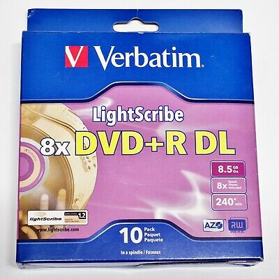 9 Pieces Verbatim DVD+R DL 8.5GB Spindle 8x Write Speed Double Layer