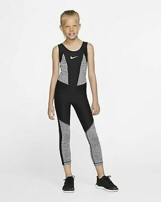 Nike Girls' Size XL Extra Large Tight Fit Bodysuit Black Grey Training DriFit