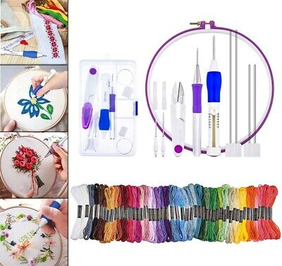 Embroidery Pen Stitching Hoops Punch Needles With 50 Color Threads Crafting Tool