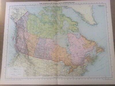 Vintage Antique 1939 Philips Map 20x15 Dominion of Canada with Newfoundland