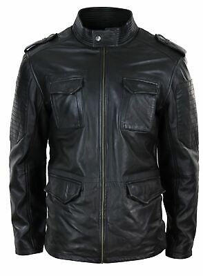 Mens Real Leather Military Safari Jacket Zip Parker Smart Casual Classic Black