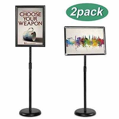 "Heavy Duty Pedestal Poster Sign Stand Adjustable Aluminum 8.5"" x 11"" Black Floor"