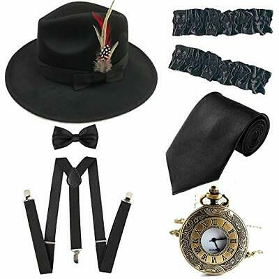 1920S Trilby Manhattan Fedora Hat Gangster Spats//Armbands,Suspenders Y-Back Tro