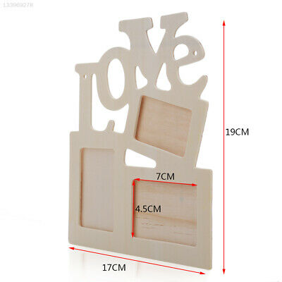 99B6 Durable Lovely Hollow Love Wooden Family Photo Frame White Base Home Decor
