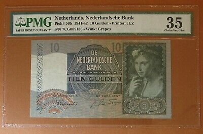 Paper Currency,Netherlands 10 Gulden,Pick# 56b 1941-42 ,PMG 35