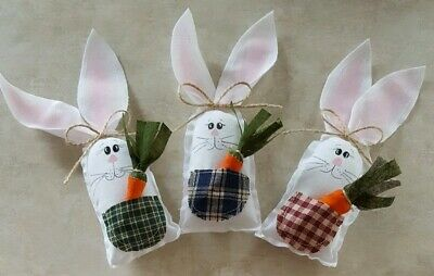 Primitive Bunny & Carrot Bowl Fillers/Farmhouse/Easter/Decor/Country /3 pc set