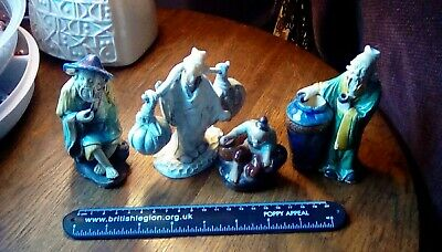 Group of 4 Vintage Chinese Mudman Pottery figures,(3 ceramic, 1 plastic)