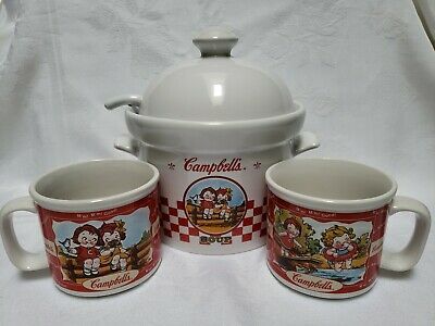 Campbell's soup tureen with 2 mugs( lid & ladle  New used)2002 Houston Harvest
