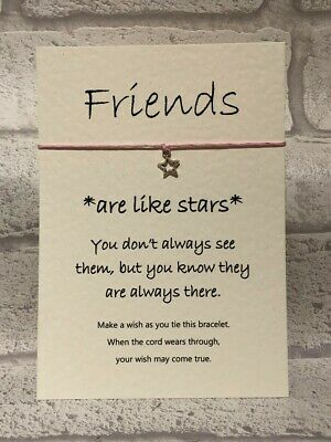 Wish Bracelet Friends are like Stars String Charm Card Gift Motivational Idea