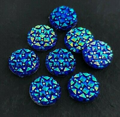 12mm Blue Faceted Cabochon 10pc Round Druzy Resin Cabs DIY Earring Supplies C141