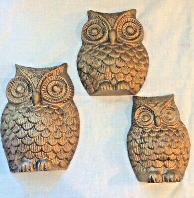 3 Owl Trio Cast Metal Wall Hanging Owl Plaques. Also can stand on shelf..Cute