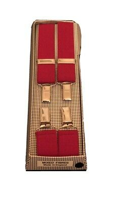 "Vintage Braces Suspenders Mens  CLIP ON Wide STOCKBROKER RED 42"" Made In England"
