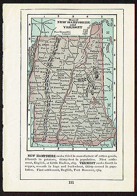 1892 Original Antique Vintage Paper US State Mini Map New Hampshire & Vermont
