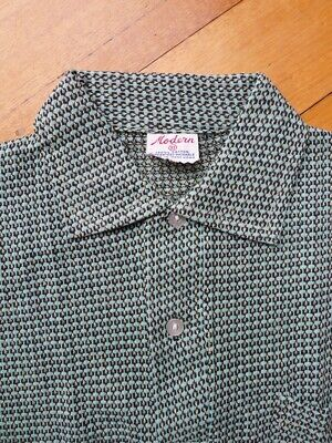 Vintage 50s unused 10 - 12 years children's boys green cotton knit polo shirt