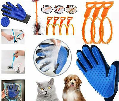 Pet Grooming Glove With 4 Pack Hair Drain Clog Remover Drain Snake Cleaning Tool