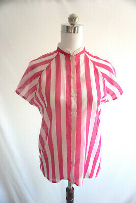 Womens vintage blouse / shirt cotton pink and white stripe 1980's size 6 -8