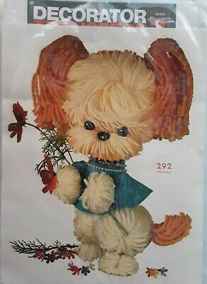 VINTAGE DECAL - TRANSFER FROM 1950's -60's Nursery POMPOM Dog Large Size New