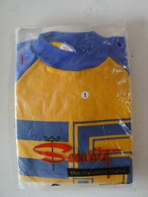 Vintage 60s unused 6 - 7 years children's unisex boys blue yellow sweatshirt NOS