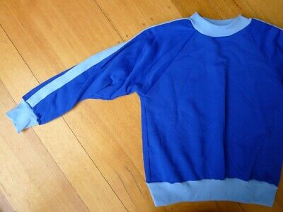 Vintage 60s unused 9 - 10 years children's unisex boys blue sweatshirt NOS