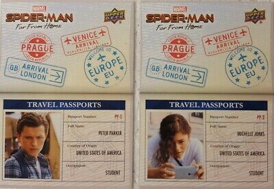 2019 Spider-Man Far From Home Trading Card Set TRAVEL PASSPORTS ( 10 )
