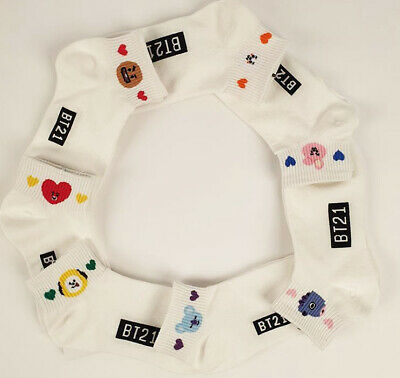 KPOP BTS BT21 Bangtan Boys Official Goods Womens Ankle Socks Set (7pairs) + Gift
