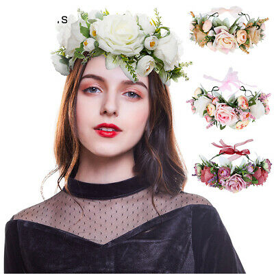 Boho Women's Flower Headband Crown Garland Festival Wedding Hairband Hair Wreath