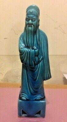 9.5 '' Antique Chinese Porcelain Turquoise Immortal Figure