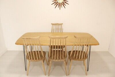 Mid Century Large Ercol Grand Windsor Plank Table Blonde Finish Hairpin Legs