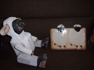 wooden Hand Crafted JOINTED Pose-able LAMB Sheep Figurine & ceramic plaque
