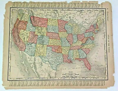 Antique 1900 Map of United States By Rand McNally Co  US Mexico & Cent America